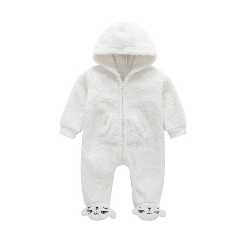 0-12M New Winter Baby Boys Clothes Girls Coral Fleece Cute Cartoon   Romper   For Babes Hoodie Jumpsuit Casual Outfits