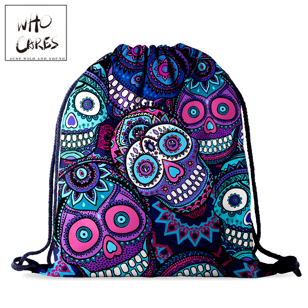 Who Cares Drawstring Storage Bag Women Backpack Fashion Skull 3D Printing Gift Bag Portable Waterproof Travel Bag