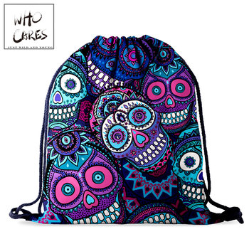 Who Cares Drawstring Storage Bag Women Backpack Fashion Skull 3D Printing Gift Bag Portable Waterproof Travel Bag new 2017 fashion personality 3d skull leather backpack rivets skull backpack with hood cap apparel bag cross bags hiphop man 737