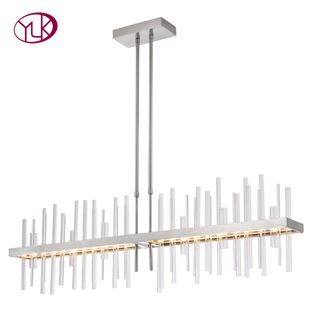 Modern Rectangle Chrome Chandelier Lighting For Dining/Living Room Kitchen Island LED Lamps Indoor Light Fixtures Home Lights