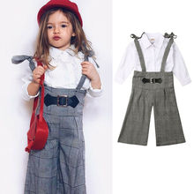 1-6T Toddler Kids Baby Girls Clothes Long Sleeve Tops England Style T Shirt Plaids Long Overall Pants Outfit Clothes 2PCS Set 3pc toddler baby girls clothing denim t shirt tops long sleeve leopard skirt set kids clothes girl outfit