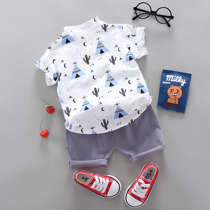 summer Children's suit Clothes Sets  children's clothing  Boys and girls Short sleeve shirt and Pants 2 pieces Clothing sets 4