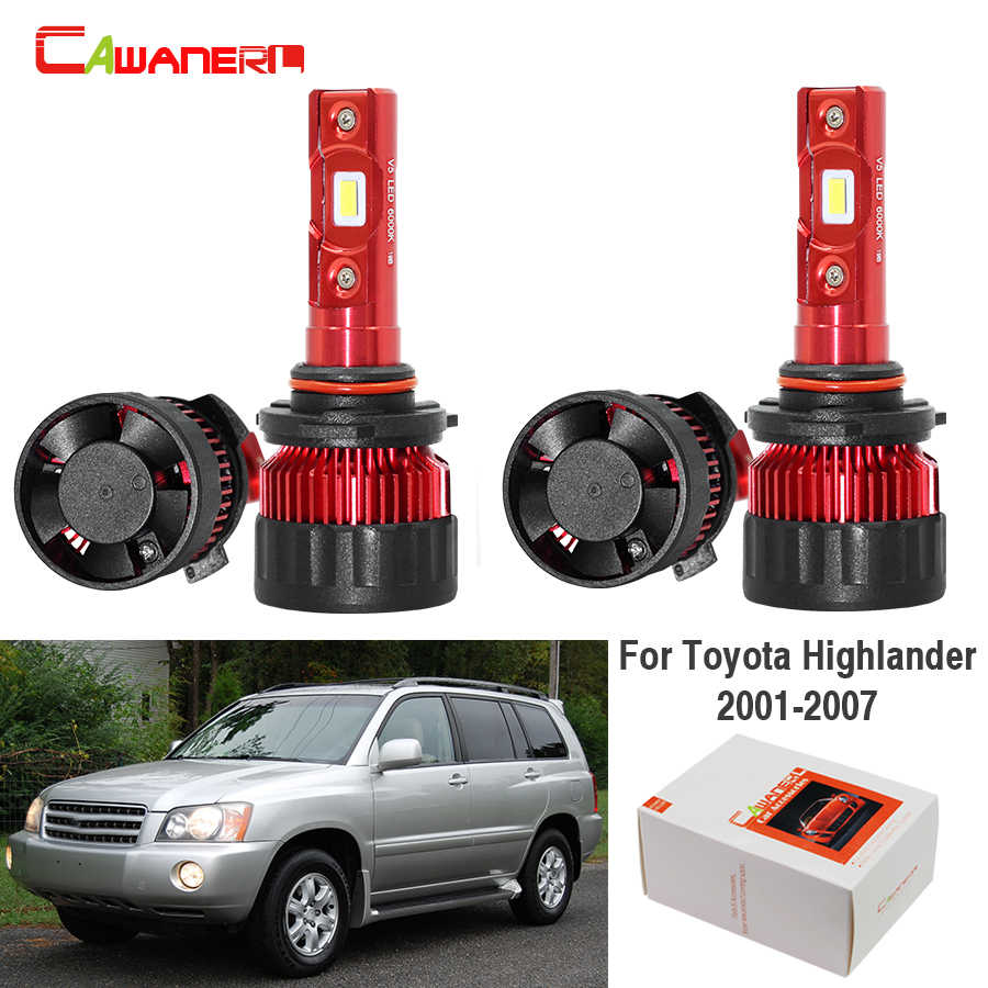 Cawanerl 4 X Car LED Headlight Low Beam High Beam White 6000K 60W 9000LM 12V Auto Headlamp For Toyota Highlander 2001-2007