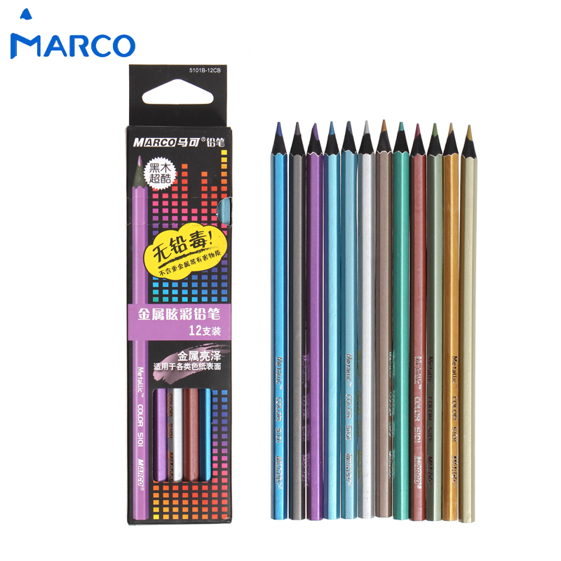 Marco 12Colors Wood Metallic Color Pencil Set Lapis De Cor Professional Drawing for School Office Stationery Supplies