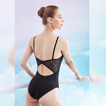 Ballet Leotards for Women Condole Belt Dance Wear Girl Adult Cotton Lace Splice Clothes Black Gymnastics Bodysuit - discount item  25% OFF Stage & Dance Wear