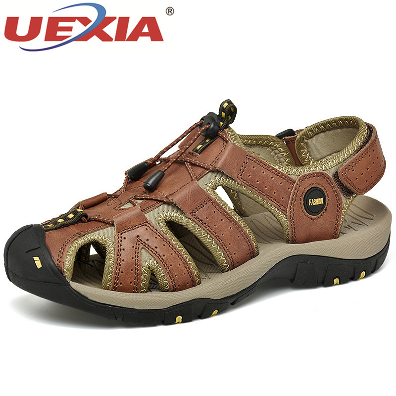 2020 High Quality Luxury Casual Men Sandals Comfortable Summer Leather Roman Summer Outdoor Beach Shoes Footwear Big Size 38-46