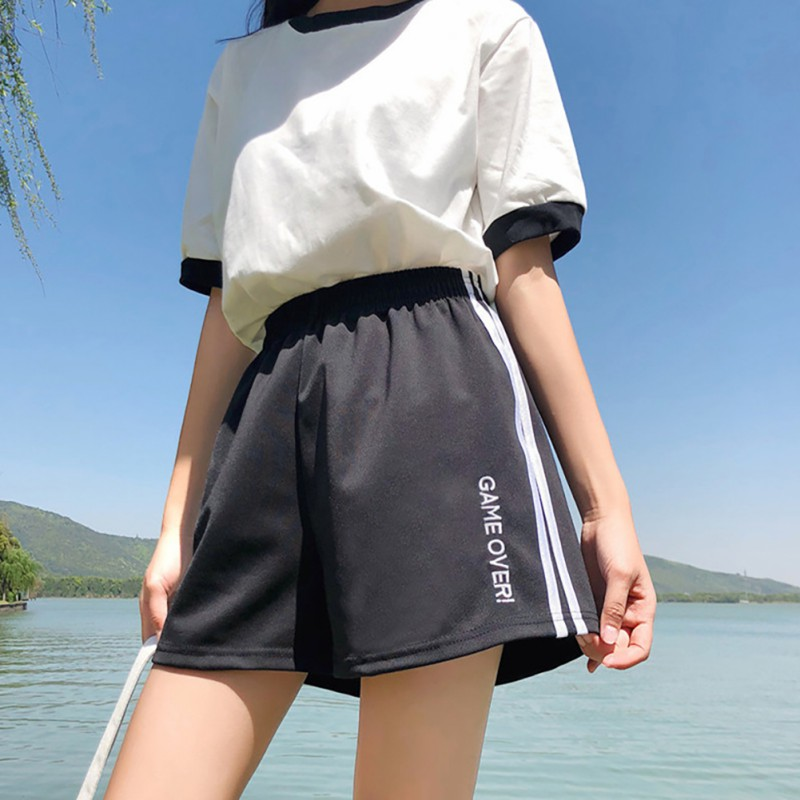 2020 Women's Beach Wide Leg Shorts Flare Style Elastic High Waist Striped & Letter Print Summer Casual Loose Hot Shorts