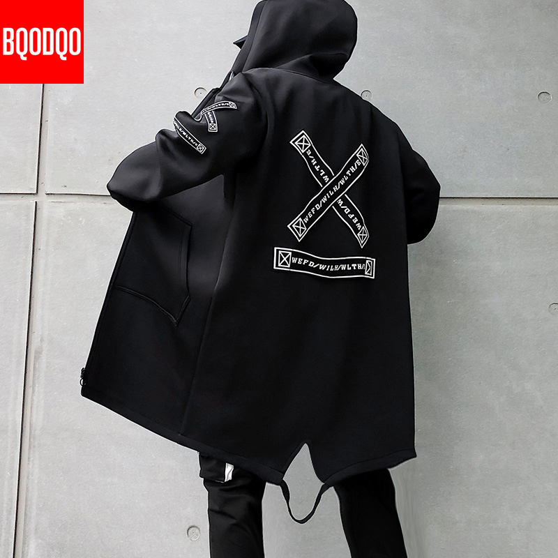Winter Long Trench Coat Men Letter Print Military Style Hooded Windbreaker Black College Hip Hop Streetwear Autumn Men's Jacket