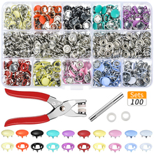 Hoomall 100 Stks/sets 10 Kleuren Metalen Naaien Knoppen Drukknopen Naaien Craft Fastener Snap Tangen Craft Tool Knoppen Voor Kleding