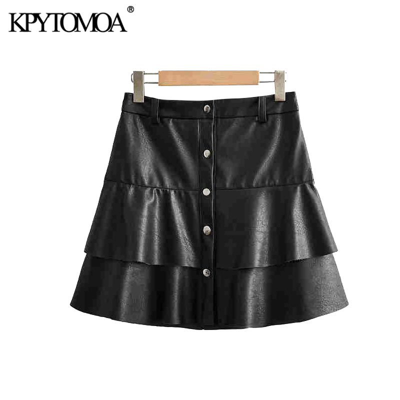 Vintage Stylish PU Faux Leather Ruffles Mini Skirt Women 2020 Fashion A Line Buttoned Female Skirts Chic Faldas Mujer