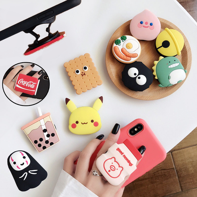 Cute Anime Cartoon Air Bag Phone Holder Stretch Bracket Finger Stand Grip Strap Mobile Expanding Universal Cellphone Ring Stand