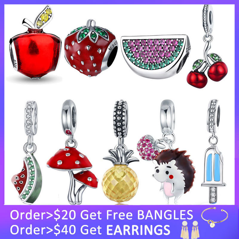 925 Sterling Silver Fruit Collection Watermelon Pineapple Strawberry Apple Charm Fit Charm Bracelet DIY Silver 925 Jewelry Gift