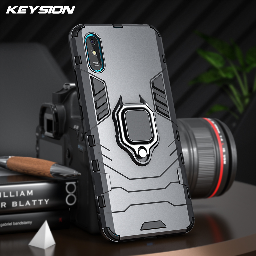 Keysion Shockproof Armor Case Voor Xiaomi Redmi 9A 9C Ring Stand Bumper Siliconen + Pc Telefoon Back Cover Voor Xiaomi redmi 9C 9A