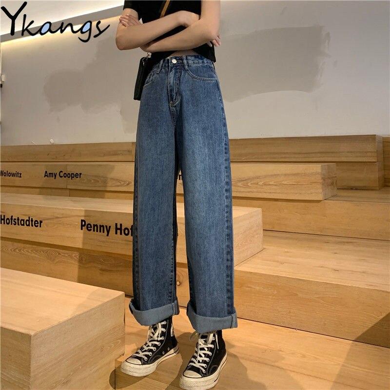 Woman Jeans High Waist Clothes Wide Leg Denim Pants Oversize Blue Streetwear Vintage Mom Jeans Fashion Harajuku Straight Pants