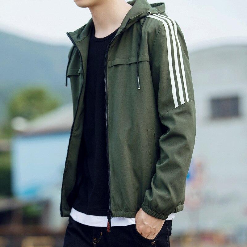Мужская ветровка в полоску, повседневная куртка бомбер с капюшоном, Бейсбольный воротник, уличная одежда, 2019|Куртки| | АлиЭкспресс
