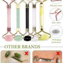 Jade Stone Rollers Massager For Face Pink Rose Quartz Natural Stone Slimming Chin Lift