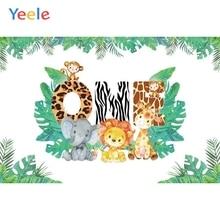 Safari Party Jungle Wild Animal Backdrop Elephant Forest Newborn Baby 1st Birthday Photography Background Photo Studio