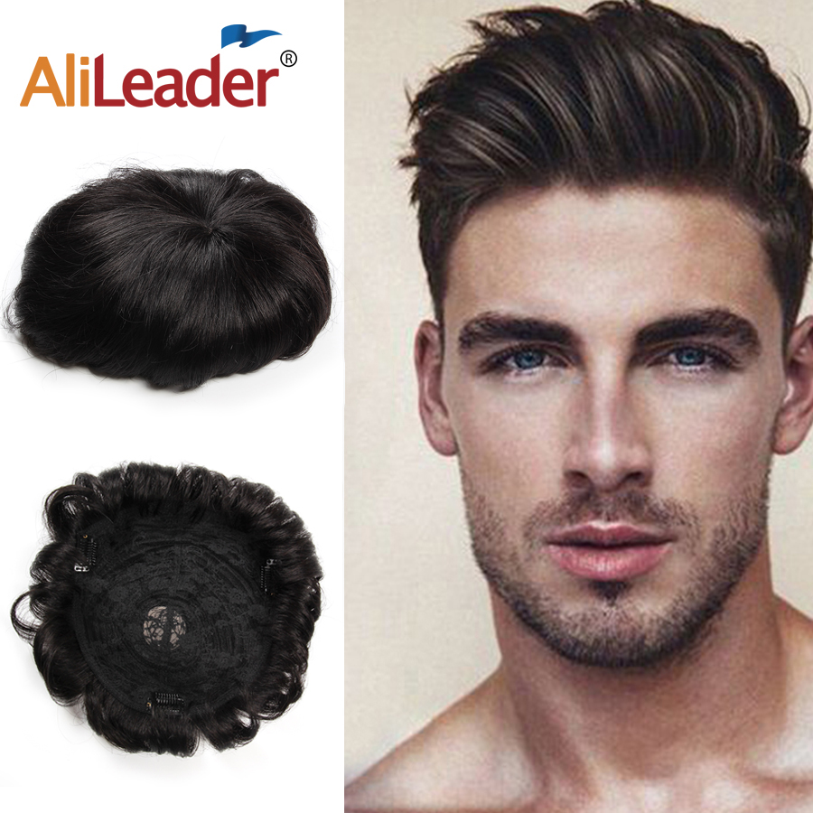 Alileader New Style Cheap Men Hair Prosthesise With Clips Natural Color Human Thin Skin Topper Hair Wigs For Male