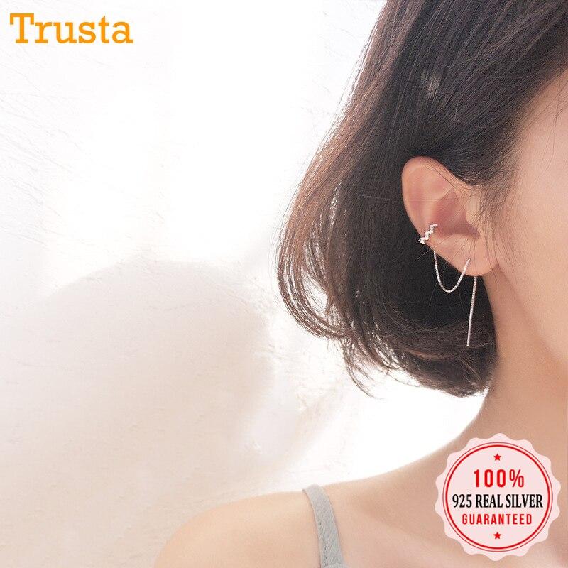 Trustdavis 100% 925 Real Sterling Silver Earrings Ear Clip with 9cm Line Pretty Teen Girl Women 925 Wholesale Jewelry DS1377