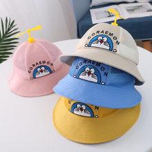 Chapéu de balde de bebê algodão infantil pescador boné para meninas e meninos dos desenhos animados de bambu libélula tampão de malha de primavera bonito crianças boné