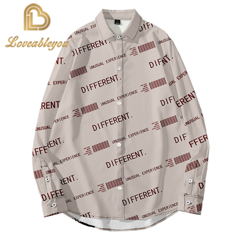 2020 Hot Sale Best Quality Fashion 3D Creative English Alphabet Print Slim Fit Shirts Mens Women Long Sleeve Casual Shirts Top
