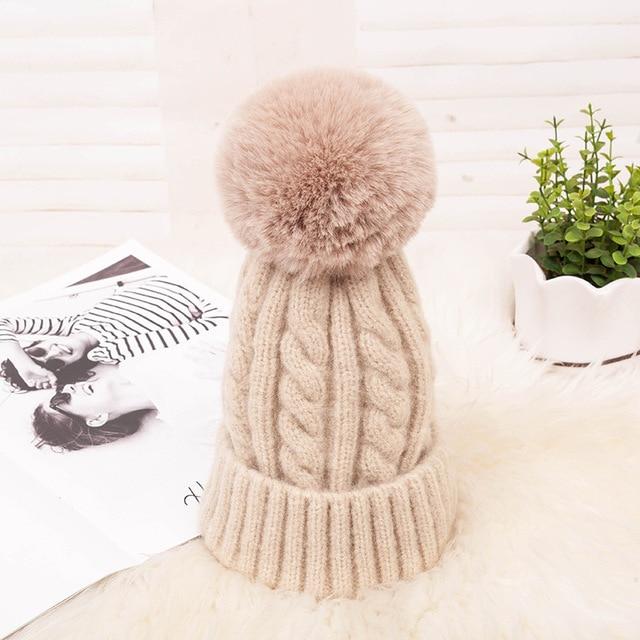 Fashion Warm Knitted Women's Hat Striped Winter Hats For Women Pink Fur Pompom Wool Beanies Thick Skullies Cap faux Pom pom Hat 3