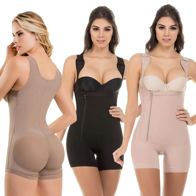 Women Open Bust Slimmer Shapewear Bodysuit Tummy Control Lifter Body Shaper Fajas Colombianas S 6XL 3 Colors Shapers UnderbustControl Panties   -