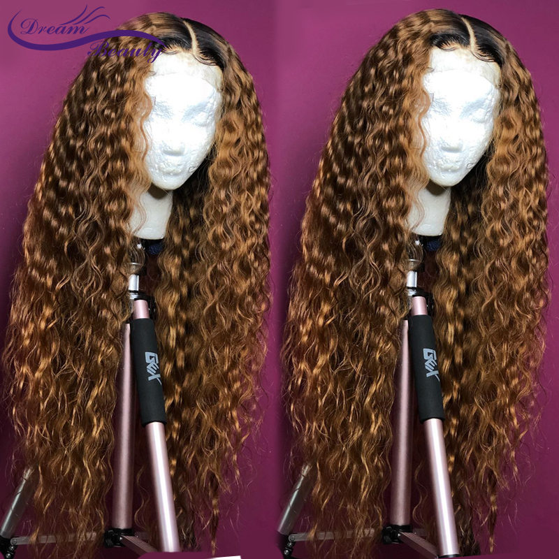 H2424dfcd3aa14184b0aa3e8ed0deb973i Ombre Blonde Curly Wig 13x4 Lace Front Human Hair Wigs Pre Plucked Ombre 1B/27 Color Brazilian Remy Hair Baby Hair Dream Beauty