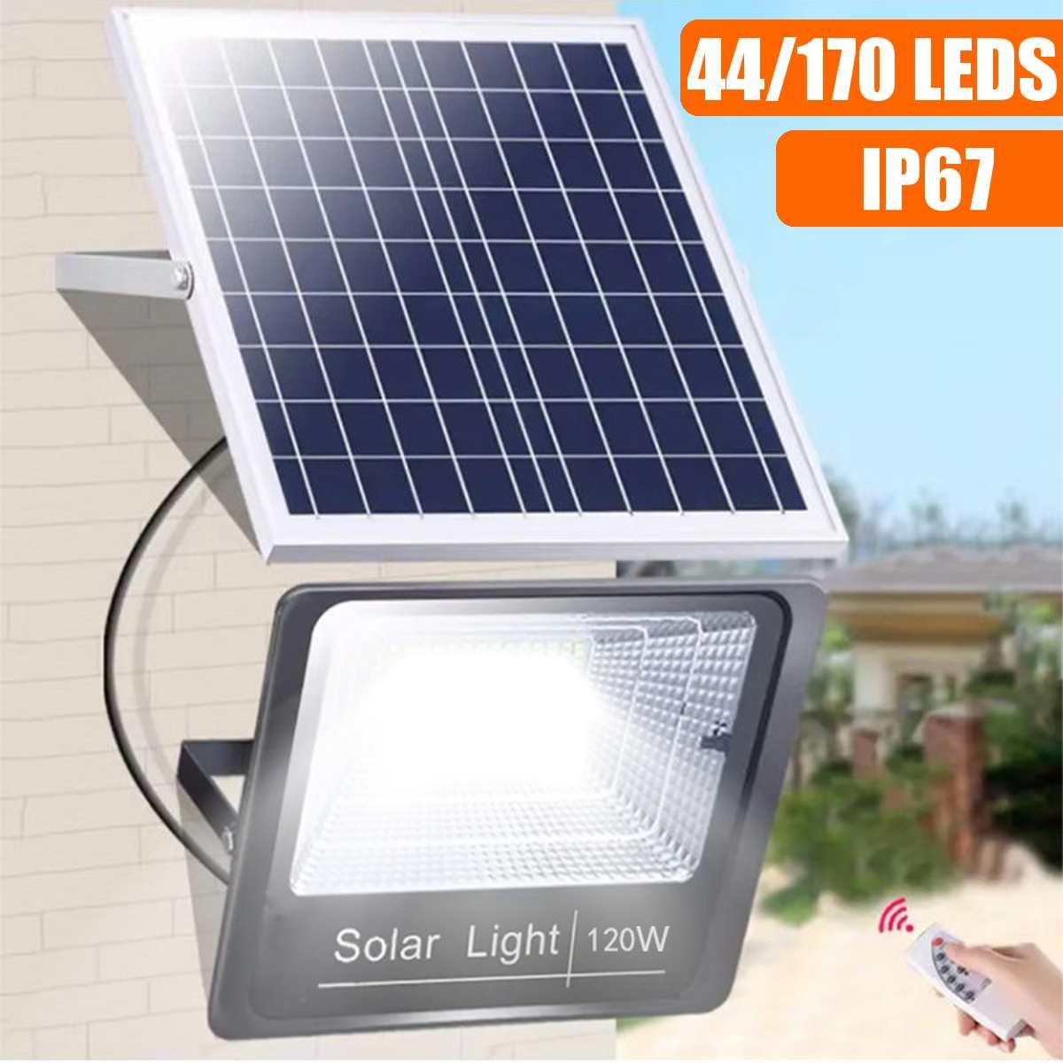 44/170 leds luz solar super brilhante holofotes sem fio ao ar livre à prova dwireless água jardim lâmpada movido a energia solar com controle rremote