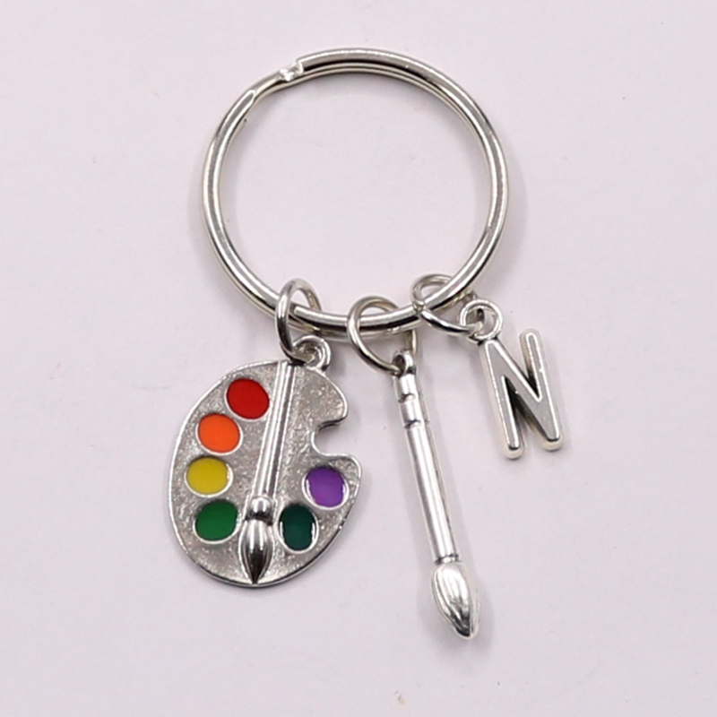 NEW Painters Tools-Palette Keychain Paintbrush Keychain Personalized Letter A-Z Charm Pendant Key Chain Ring DIY Fit Keychain