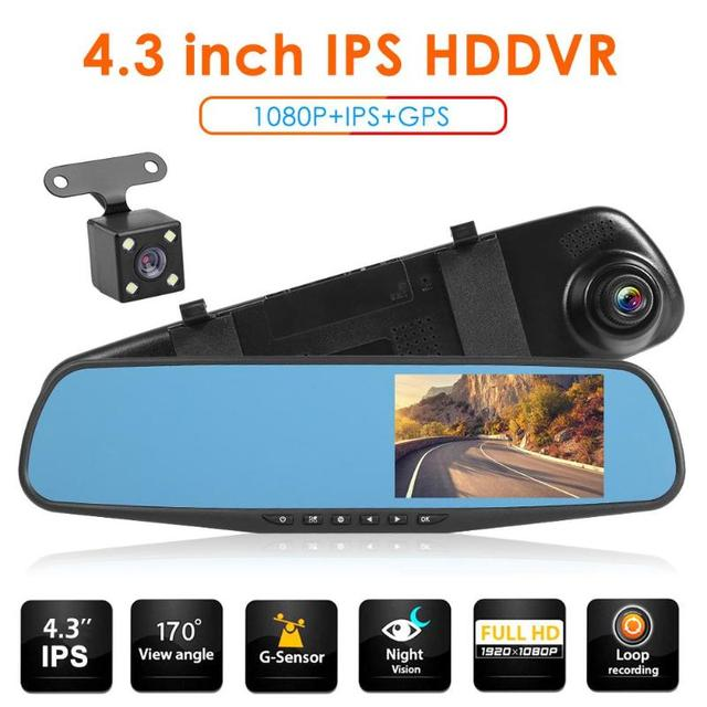 VODOOL Q103B 4,3 pulgadas IPS pantalla 1080P HD coche espejo retrovisor DVR Cámara Dual lente 170 grados gran angular Dashcam grabadora de vídeo