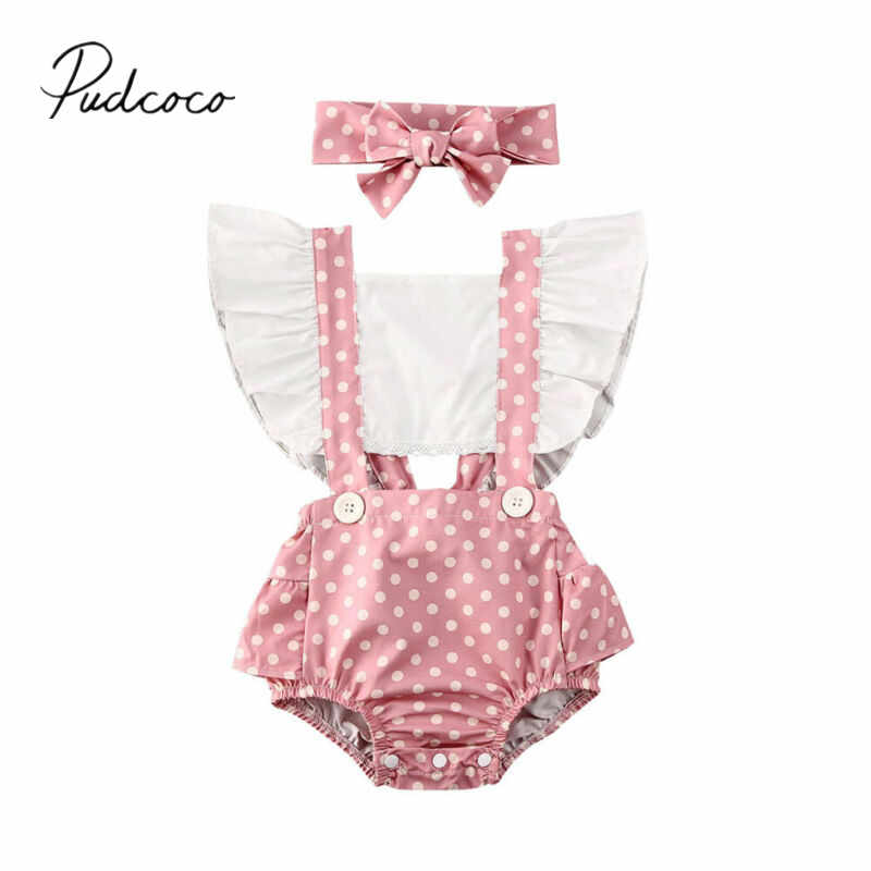 2020 Baby Summer Clothing Toddler Baby Girl Dots Ruffle Backless Playsuit Bodysuit Headband Outfits Set Patchwork Sunsuits