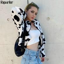 Rapwriter-blouson fourrure de vache lait pour femmes, avec col rabattu, nouvelle collection Streetwear, à manches longues, avec fermeture éclair, ample, automne 2020