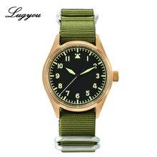 Часы пилот Lugyou, механические, бронзовые, винтажные, армейский зеленый, сверхсветящиеся, из кожи или нейлона NH35, размер 39 мм