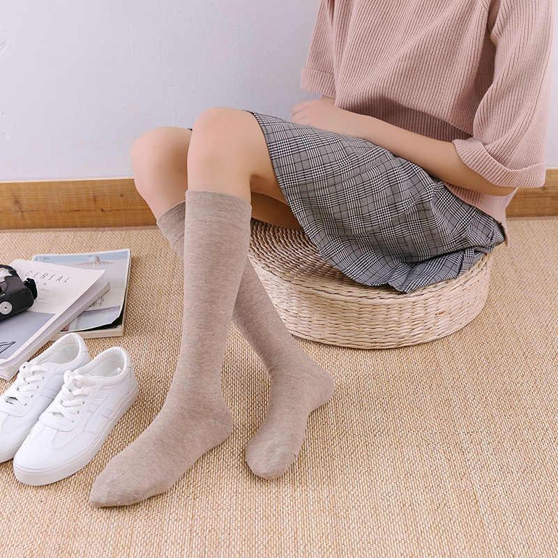 ถุงเท้าฤดูใบไม้ร่วงและฤดูหนาวใหม่เข่าสูงถุงเท้าญี่ปุ่น Retro สีผ้าฝ้ายยาวลูกวัวสั้น pile ผู้ใหญ่หญิง