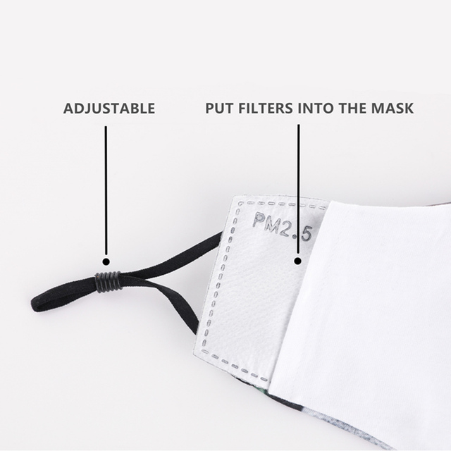 Cotton Floral Reusable Face mask With Filter Washable Mask Adjustable Straps Women Mouth Mask Flu Windproof Anti Mouth-muffle 3