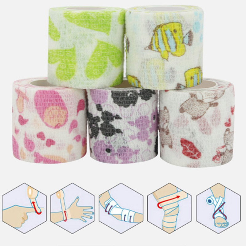 Self Adhesive Wrap Bandage Tape Pet Flexible Cartoon Printed First Aid 5cmx4.5m Elastic Bandage Muscle Tape