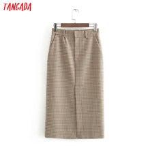 Tangada women plaid pencil midi skirt faldas mujer vintage zipper office ladies elegant high waist mid calf skirts 3H263