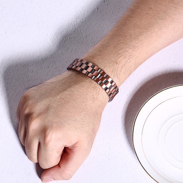Stylish Double Row Magnets Red Copper Bracelet
