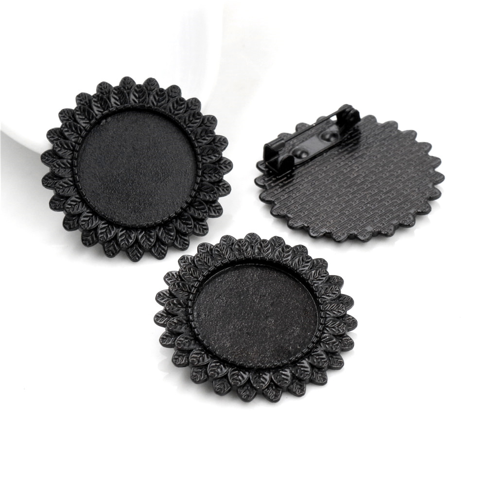 2pcs 20mm Inner Size Black Brooch Style Cabochon Base Setting Charms Pendant (D1-05)