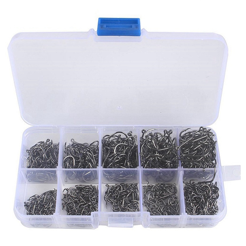 600 Pcs/Box Fishing Hooks Stuff High Carbon Steel Catfish Circle Hooks Mixed Size Barbed Jig Hook Tackle for Saltwater image