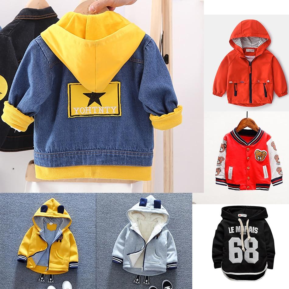 Boy Girl Denim Jackets Kids Jeans Coat Children Autumn Winter Outwear Clothes Boys Hooded Sport Printed Letter Star Jackets 0-6T