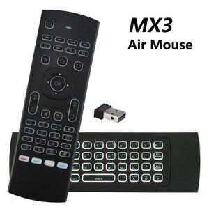 MX3 с подсветкой Air Mouse T3 Smart Voice Remote Control MX3L 2,4G ИК обучающая Беспроводная клавиатура для Android TV Box