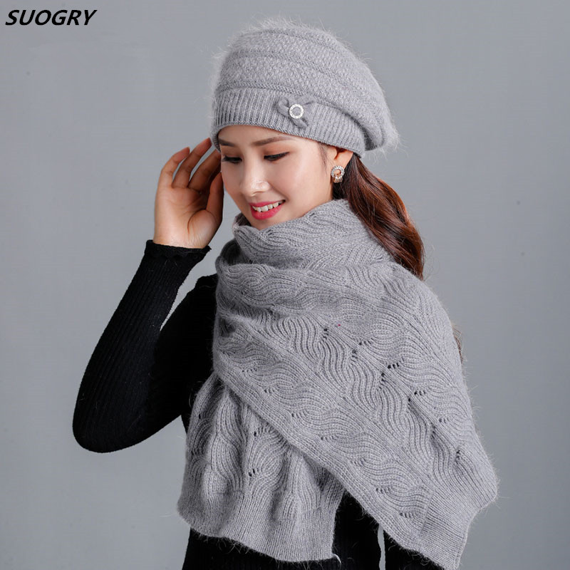 Cashmere Rabbit Beret Hat Scarf  Female Winter Knitted Hats Middle Age Lady Cap Fashion Bow-knot Ball Beanie Warm Hat