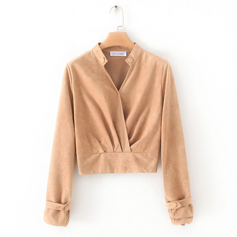Women Suede Pullover Autumn 2019 New Fashion Long Sleeve Sweatshirt Modern Lady Casual Tops