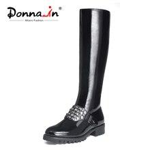 Winter Boots Mid-Heel Women Platform Round-Toe Female Black High Donna-In Rivet Cow-Patent