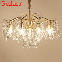 American Luxury Crystal Chandelier Pendant Lamp Gold E14 Lustres suspended Light fixture For Living Room Hotel Home Decor