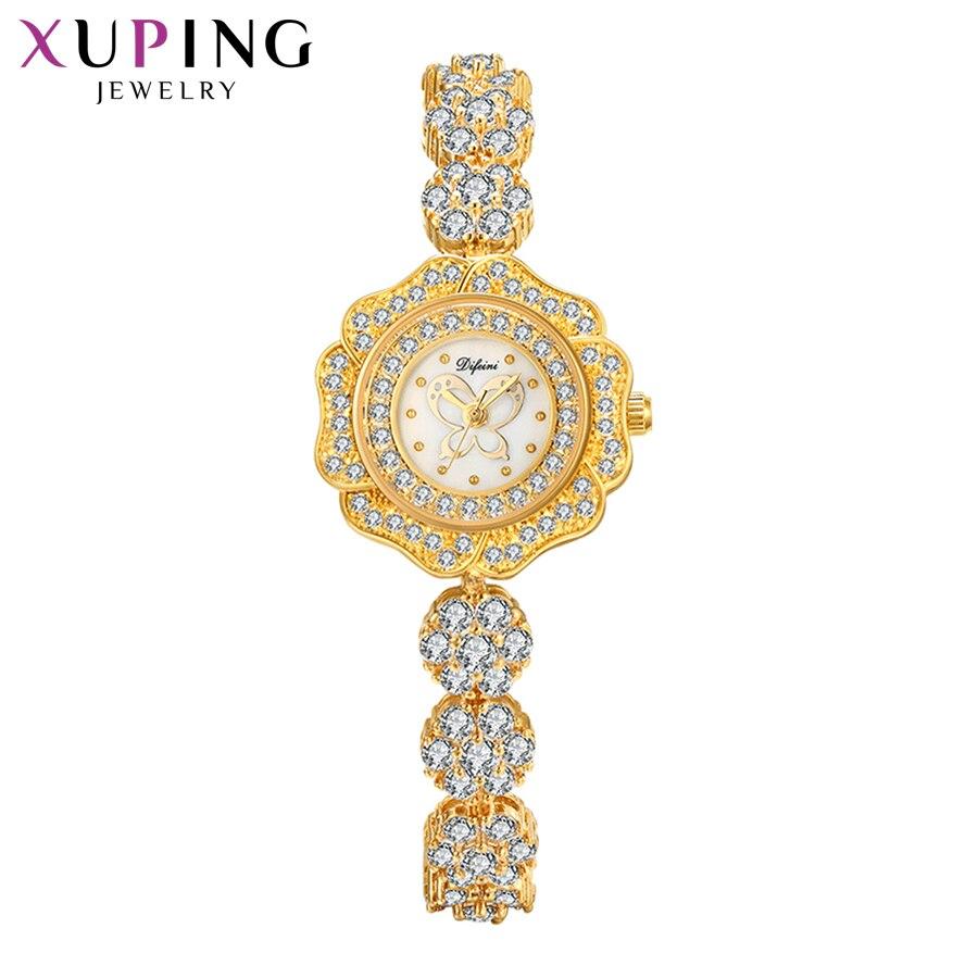 Xuping synthétique zircon cubique montre femmes exquis en forme de cadeaux à la mode coloré Luxulry Quartz montre 00015