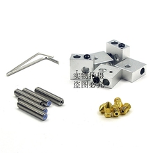 3D printer accessories mk8 heating aluminum block kit 1.75 throat 0.4mm nozzle with wrench set new 3d printer accessories makerbot mk8 double nozzle throat fixed block 87 16 13mm 5pcs lot