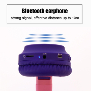 Image 5 - Vococal słodki kociak słuchawki składany zestaw słuchawkowy Bluetooth 5.0 z oświetleniem LED wsparcie karty TF dla dzieci świąteczne prezenty bożonarodzeniowe